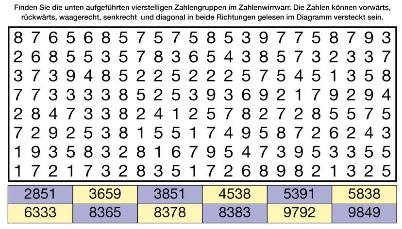 Zahlen im Versteck